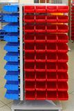 Storage bins. Storage organizer cart with plastic sorting bins royalty free stock photo