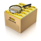 Storage box with magnifying glass Royalty Free Stock Photo