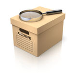 Storage box with magnifying glass Stock Photography