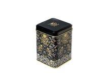 Storage box of tea or coffee black. Metal Storage box of tea or coffee black stock photos