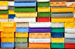 Storage boxes. Boxes in many different colours used for fish stock photo