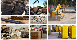 Storage building materials of a telescopic loader Stock Photography