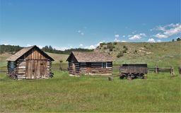 Storage Buildings at Hornbek Homestead. Adeline Hornbek was a single mother of four children who claimed land near Florissant, Colorado under the Homestead Act stock photography