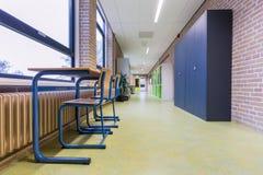 Storage cabinets in high school corridor royalty free stock photos