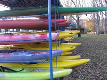 Storage of canoes and kayaks royalty free stock image