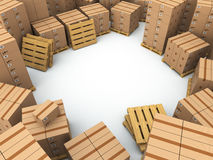 Storage. Cardboard boxes on pallet Royalty Free Stock Images