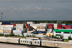 Storage of cargo containers, container depot. Stock Photos