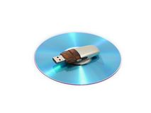 Storage and CD. Isolated over white Stock Image