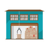 Storage cellar with packages and crane mechanics. Vector illustration royalty free illustration