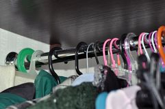 Storage of clothes and linen in the home closet stock photo