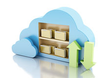 Storage in cloud. Cloud computing concept. 3d renderer illustration. 3d File storage in cloud. Cloud computing concept on white bakcground Royalty Free Stock Image