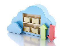 Storage in cloud. Cloud computing concept. 3d renderer illustration. 3d File storage in cloud. Cloud computing concept on white bakcground Stock Image