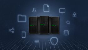 Free Storage, Cloud, Server Station Surrounded With Concept Internet Services Icons Stock Image - 143151411