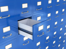 Storage concept. 3d render of file drawer with one opened. Storage concept Royalty Free Stock Photography