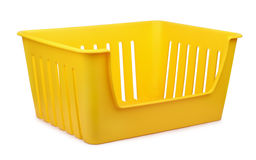 Storage container. Yellow empty plastic storage container isolated on white Stock Images
