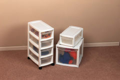 Storage containers in a home Stock Image