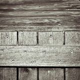 Storage crate. Dramatic monochrome close up of the edge of a wooden storage trunk royalty free stock image