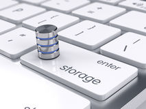 Storage database icon on the keyboard. Big database storage conc Stock Image