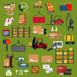 Storage, delivery and logistics flat icons Stock Images