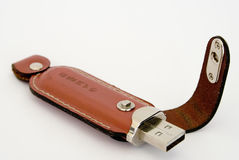 Storage device with leather covering. And with a magnetic fastener Royalty Free Stock Photography