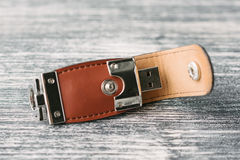 Storage device with leather covering Stock Photos