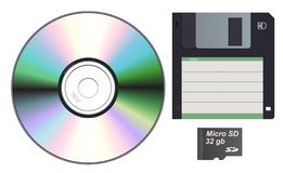 Storage device set. Vector collection of different storage devices Royalty Free Stock Photos