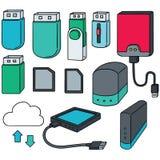 Storage device. Vector set of storage device Stock Photo