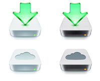 Storage and download concept. Vector illustration of cloud storage and download concept icons with external hard disk Stock Image