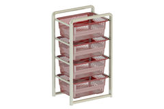 Storage Drawers with plastic boxes. 3D rendering Stock Photos