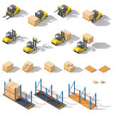Storage equipment isometric icon set. Presented forklifts in various combinations, warehouse racks, pallets with goods. Stock Images