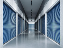 Storage facilities with blue doors.3d rendering Royalty Free Stock Photos