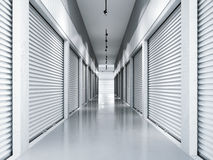 Storage facilities with white doors. 3d rendering. Storage facilities with white doors. Interior units. 3d rendering Royalty Free Stock Image
