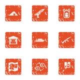 Storage facility icons set, grunge style. Storage facility icons set. Grunge set of 9 storage facility vector icons for web isolated on white background Stock Photos