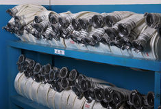 Storage of fire hoses Stock Photo