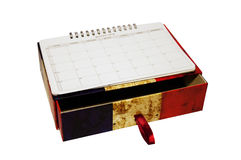Storage France calendar. A box with French flag printed above and calendar Stock Image