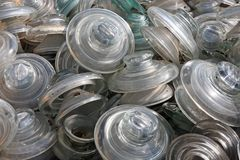 Storage of glazing and glass insulators abandoned on a landfill Royalty Free Stock Image