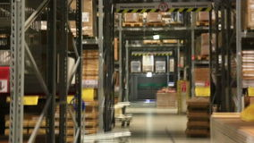 Storage of goods in a large shopping center stock video