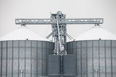 Storage grain silos in winter Stock Photo