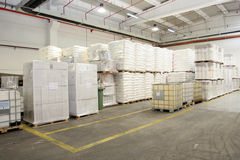 Storage hall. Detail of a filled storage hall Royalty Free Stock Photography