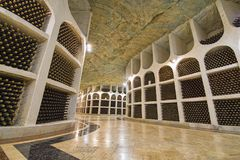 Storage hall for wine bottles stock images