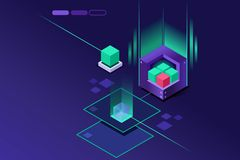 Storage hardware powered concept Crystal Violet Concept. Storage powered hardware concept. Crystal violet concept or idea. Isometric art vector design Stock Photography