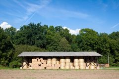 Storage of hay bale Stock Photo
