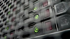 Storage HDD Server. Flashing lamp. Data servers rack with many hard drives and LED lamps blink stock video footage