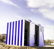 Storage Huts on the Beach Stock Photography