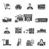 Storage Icons Set. Storage and logistics black white icons set with transportation and sorting symbols flat  vector illustration Stock Photos