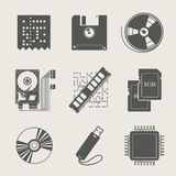 Storage information set of icon Royalty Free Stock Photos
