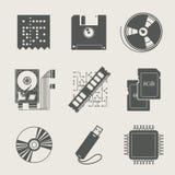 Storage information set of icon. Illustration