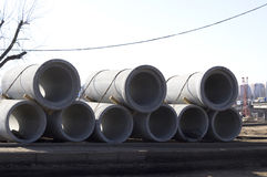 Storage of large diameter concrete pipes Royalty Free Stock Photos