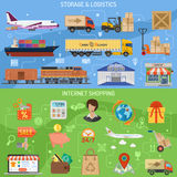 Storage logistics and shopping banners royalty free illustration