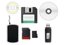 Storage media. Vector cliparts of storage media. in the set is CD, small cd, floppy disk, hard disk, sd card, micro sd card and flash drive. Eps format is Stock Image